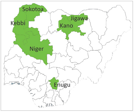 State map of Nigeria.