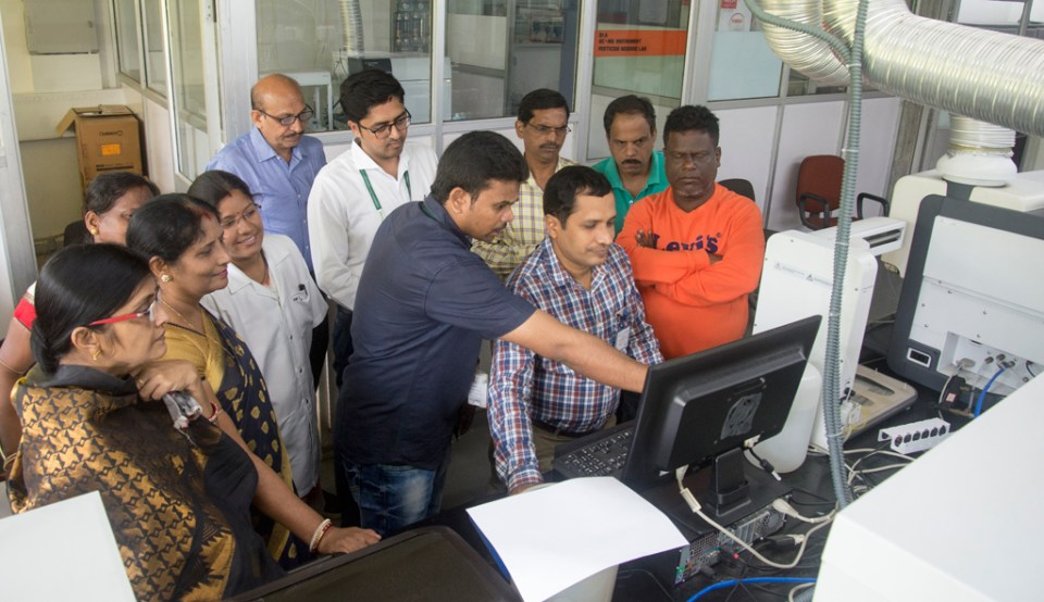 Hands-on training on sophisticated soil-testing equipment at CRAL, ICRISAT. Photo: S Punna