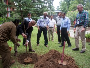 Dr Marco Ferroni, Systems Management Board Chair, CGIAR, planting a tree at ICRISAT campus. Photo: P Srujan, ICRISAT