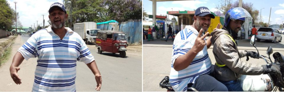 (L) Clive Wanguthi in Eastleigh (R) Clive on a motor 'taxi' driven by a local youth. Photo: Jayashree B, ICRISAT