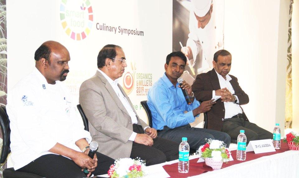 (Left to right) Chef Ramasamy Selvaraju, Executive Chef, Vivanta by Taj; Mr Sreenivas Murthy, Principal Secretary, Government of Karnataka; Dr Jagadeesha, Commissioner, Department of Agriculture, Government of Karnataka and Prof Govind Kadambi Pro- Vice Chancellor, MS Ramaiah University of Applied Sciences. Photo: MS Ramaiah University