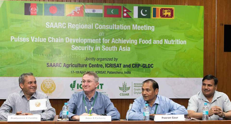 (L-R) Dr Pradyumna Raj Pandey, Senior Program Specialist, SAC, Bangladesh; Dr Peter Carberry, Director-General, ICRISAT; Dr Pooran Gaur, Research Program Director–Asia; and Dr N P Singh, Director, ICAR-Indian Institute of Pulses Research, at the SAARC Regional Consultation Meeting.  Photo: S Punna, ICRISAT