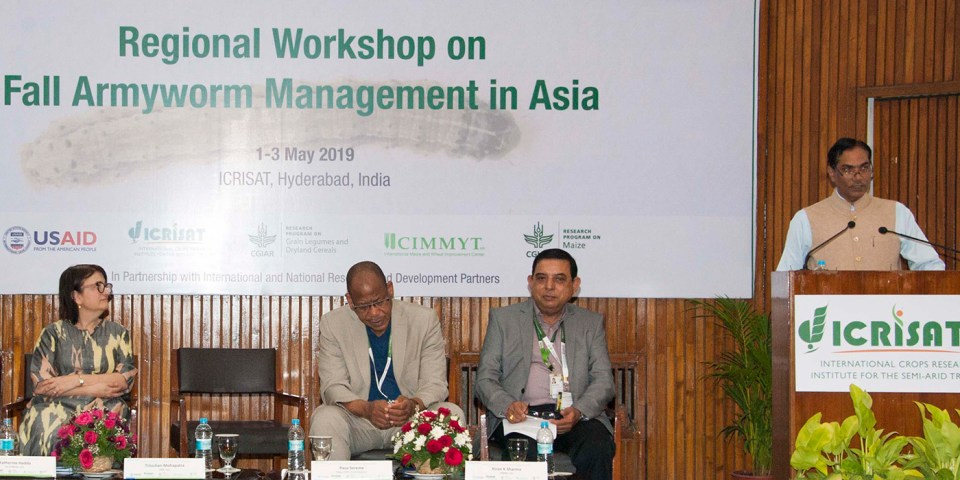 Dr. Trilochan Mohapatra (Extreme Right) addressing scientists attending the workshop. Also in the picture are (L-R) U.S. Consul General in Hyderabad Katherine Hadda; Dr Paco Sereme, Chair, ICRISAT Governing Board and Dr. Kiran K Sharma, DDG-R ICRISAT.