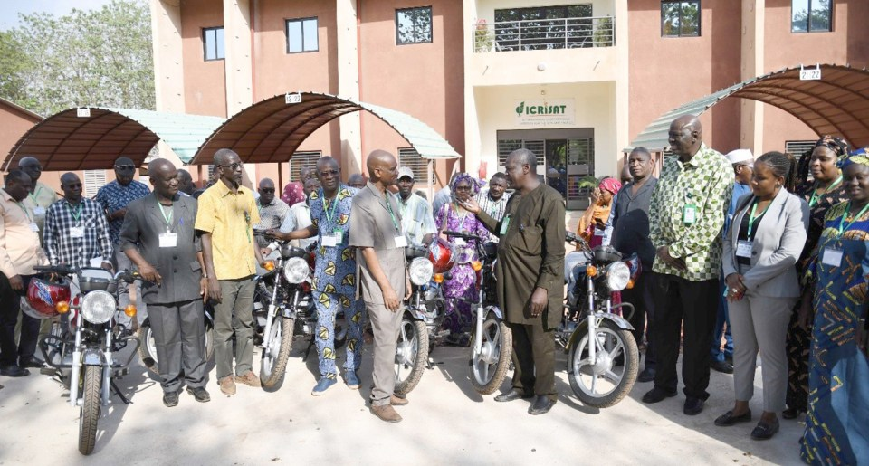Motorcycles offered to TAAT's Sorghum and Millet Compact implementing partners. Photo. A Diama, ICRISAT