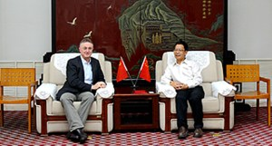 Dr Carberry with Prof Zhao Xingxu at GAU.