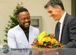 Mr Martin Paul Tabe-Ojong receiving felicitations. Photo: Tropentag