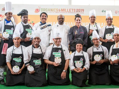 The student chefs with the judges. Photo: ICRISAT