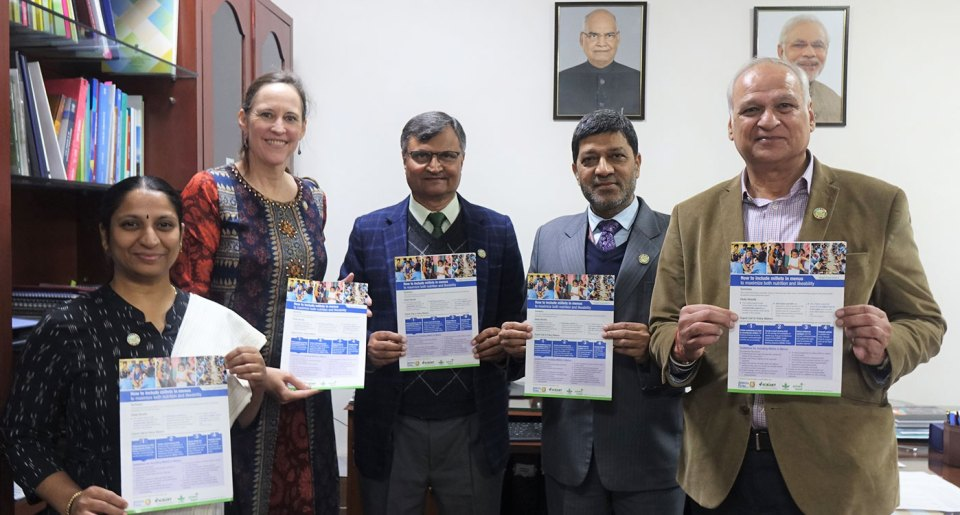 (Left to Right) Dr S Anitha, Joanna Kane-Potaka, Prof Ramesh Chand, Dr Ashok Dalwai and Dr Raj Bhandari at the release of the study's findings in New Delhi. Photo: Liam Wright, ICRISAT