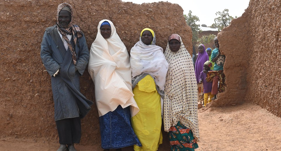 Mrs Hadja Salame (second from left) with her family. Photo: A Diama, ICRISAT