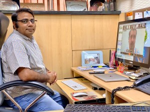 Dr Varshney delivering online lecture during webinar organized by MPKV, Rahuri. Photo: CEGSB