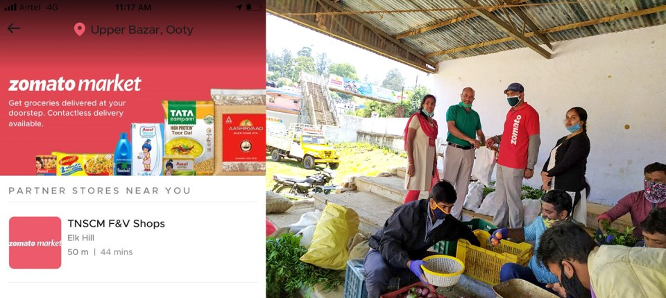 Zomato team pick up the order for delivery in Coimbatore. Photo: T Muthukumar, ICRISAT