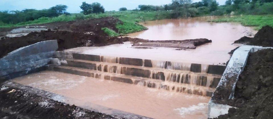 Check dam in the village. Photo: ICRISAT
