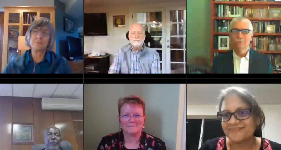 A screenshot from the first webinar. From top left to bottom right: Dr Lafitte, Dr Gutterson, Dr Bertram, Dr Mashingaidze, Dr Hughes and Dr Pooja Bhatnagar, Theme Leader - Cell, Molecular Biology & Genetic Engineering at ICRISAT. Photo: ICRISAT