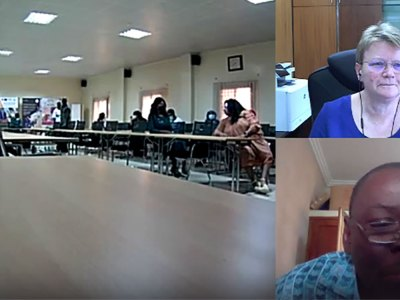 A screenshot of Dr Hughes and Dr Tabo (right hand corner) interacting with staff in the conference room in Mali.