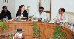 L-R: Ms Lakshmi Pillai, Manager, Grants Management, ICRISAT; Ms Joanna Kane-Potaka, Assistant Director General, ICRISAT, and Executive Director, Smart Food; Dr Arvind Kumar, Deputy Director General – Research, ICRISAT; and Dr P Chandra Shekara, Director General, meeting at MANAGE headquarters in Hyderabad India. Photo: MANAGE
