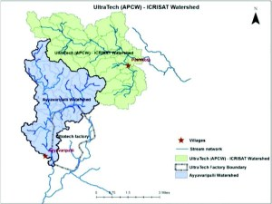 Map of the watersheds near the UltraTech Cements plant, Tadipatri mandal, Anantapur district of Andhra Pradesh.