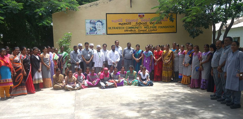 ICRISAT food management staff conducting a training program on millet-based cooking and baking products for women of the CSR project villages.