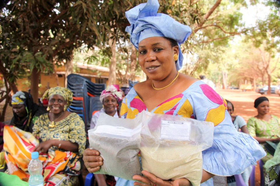 Participants at the launch ceremony of the Mali Agri-business Incubation Hub exhibit some of their processed products. Photo: M Diallo, Macina Film