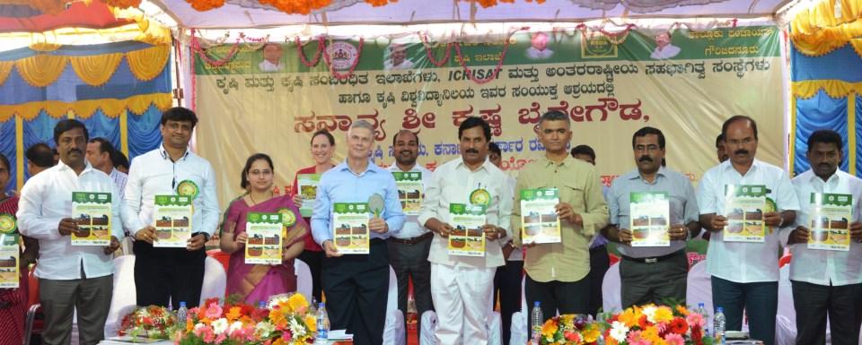 The representatives of Government of Karnataka and ICRISAT during the launch of Suvarna Krishi Grama Yojane.