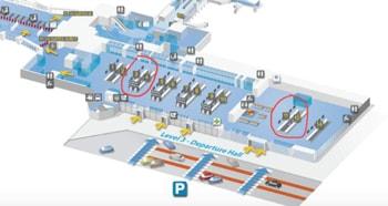 Map of Terminal 3, Zaventem Airport, Brussels, Belgium