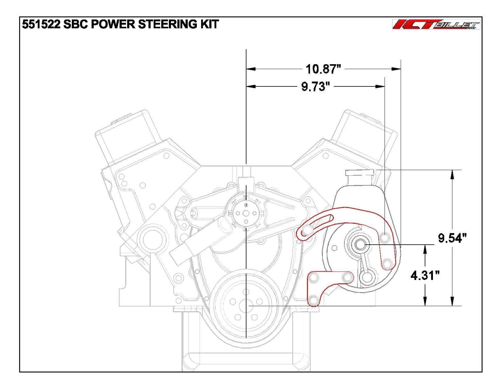 Sbc Billet Adjustable Alternator Power Steering Bracket