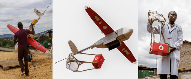 flying robots deliver blood in Rwanda