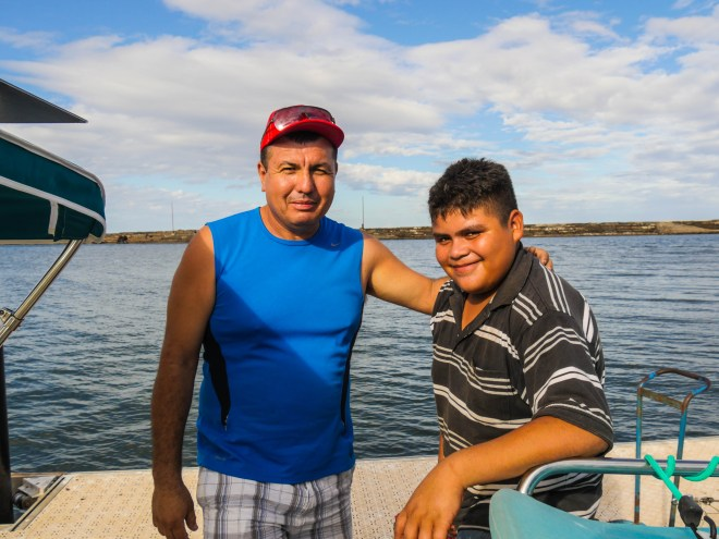José and his son at the docks in Santa Rosalía.
