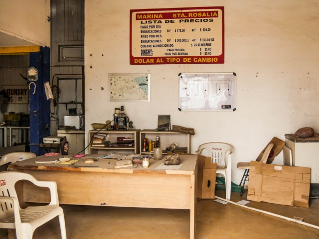The abandoned office, complete with half used condiments, was covered in a thick layer of dust.