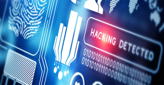 """should you diclose a data breach represented by the words """"hacking detected"""" in red on a blue and white touchscreen"""