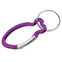 Carabiner Fish Shape PURPLE with Split Ring