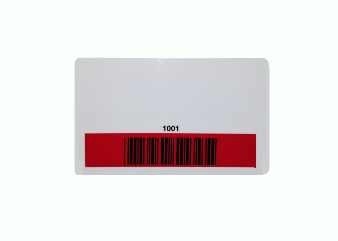 Custom Laminate PVC Card with Barcode and Red Mask