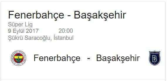 9 Eylül 2017 Fenerbahçe - Başakşehir Süper Lig maçı iddaa oran analizi ve maç tahmini