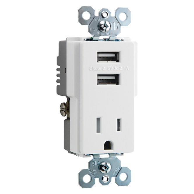 Topgreener Tu2154a 15 Amp High Sd Dual Usb Charger Receptacle