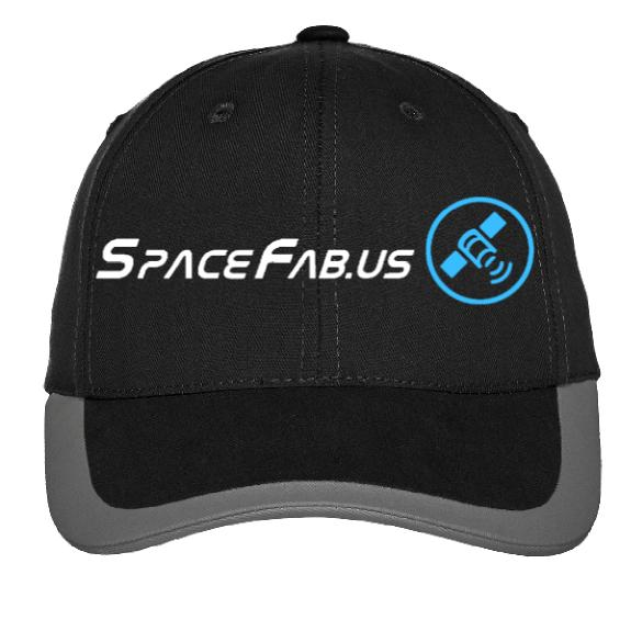 SpaceFab Black Twill Hat with Graphite Contrast Stripe