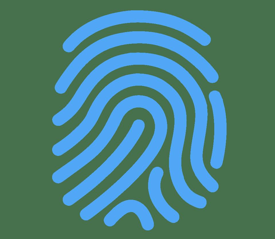 Icone para identidade visual. Imagem vetorizada retratando a digital de uma pessoa