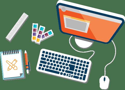 Mesa de designer desenvolvendo uma identidade visual com um computador, tabela de cores, bloco de anotações, canetas e regua