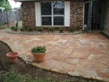 flagstone patio, outdoor living