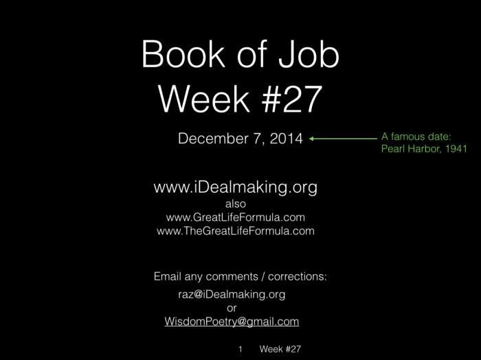 Book of Job, Raz, Week #27.001