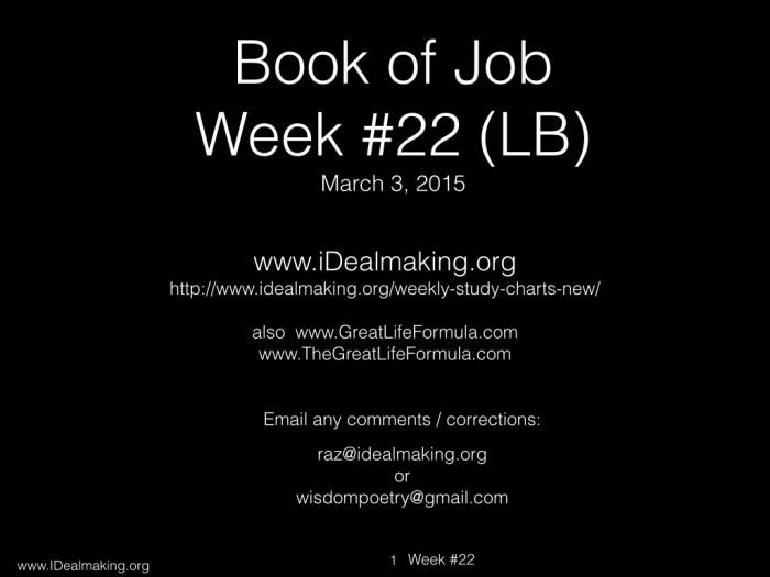 Book of Job, Week #22 LB .001
