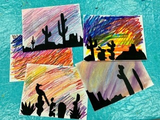 Create a desert sky silhouette