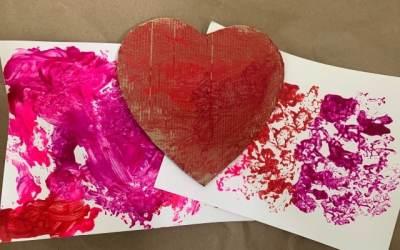Paint scrunched foil hearts