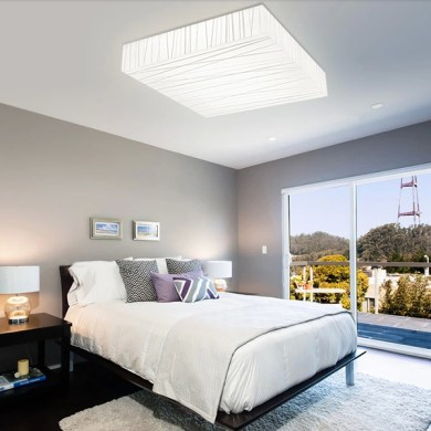 LED Ceiling Lights for your Home Interior   Ideas 4 Homes Picturesque Bedroom with Soft Bedding Set under Square Shaped LED Ceiling  Lights