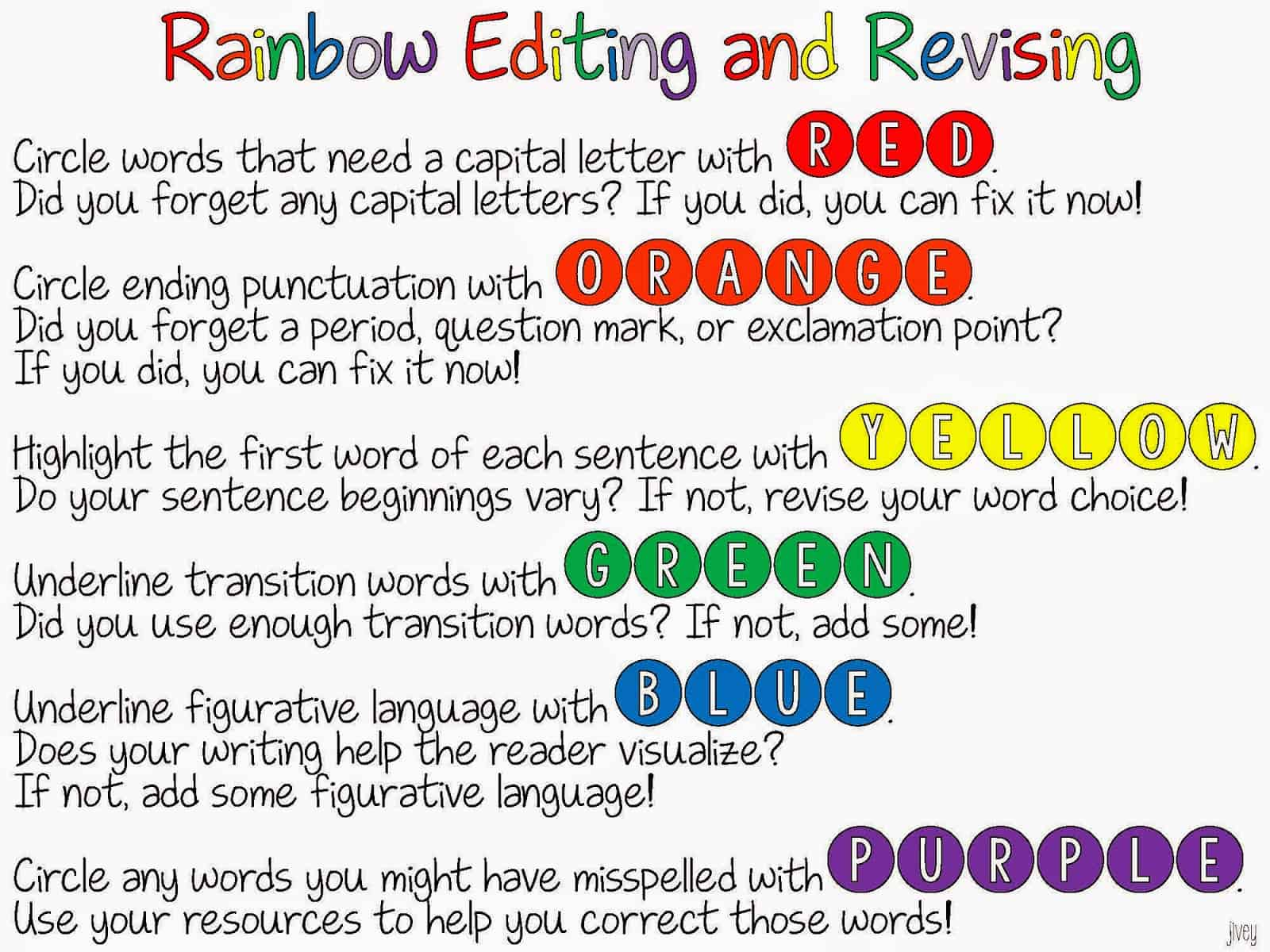 Rainbow Editing And Revising Freebie