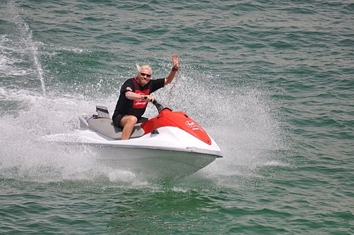 Richard Branson on water bike