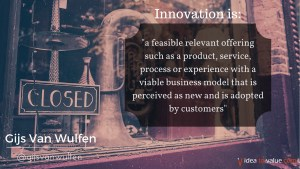 a feasible relevant offering such as a product, service, process or experience with a viable business model that is perceived as new and is adopted by customers
