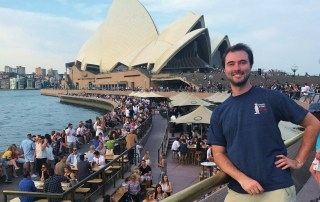 Nick Skillicorn in front of the Sydney Opera House