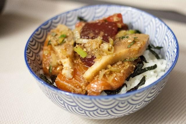 bol de sashimis marinés