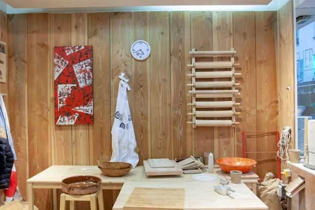 Vue intérieure de l'atelier soba