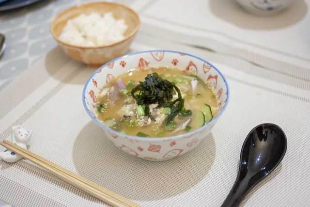 Soupe miso froide hiyajiru