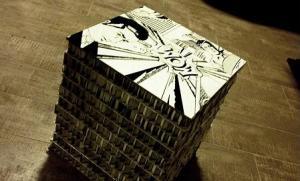 pouf popart di cartone riciclato